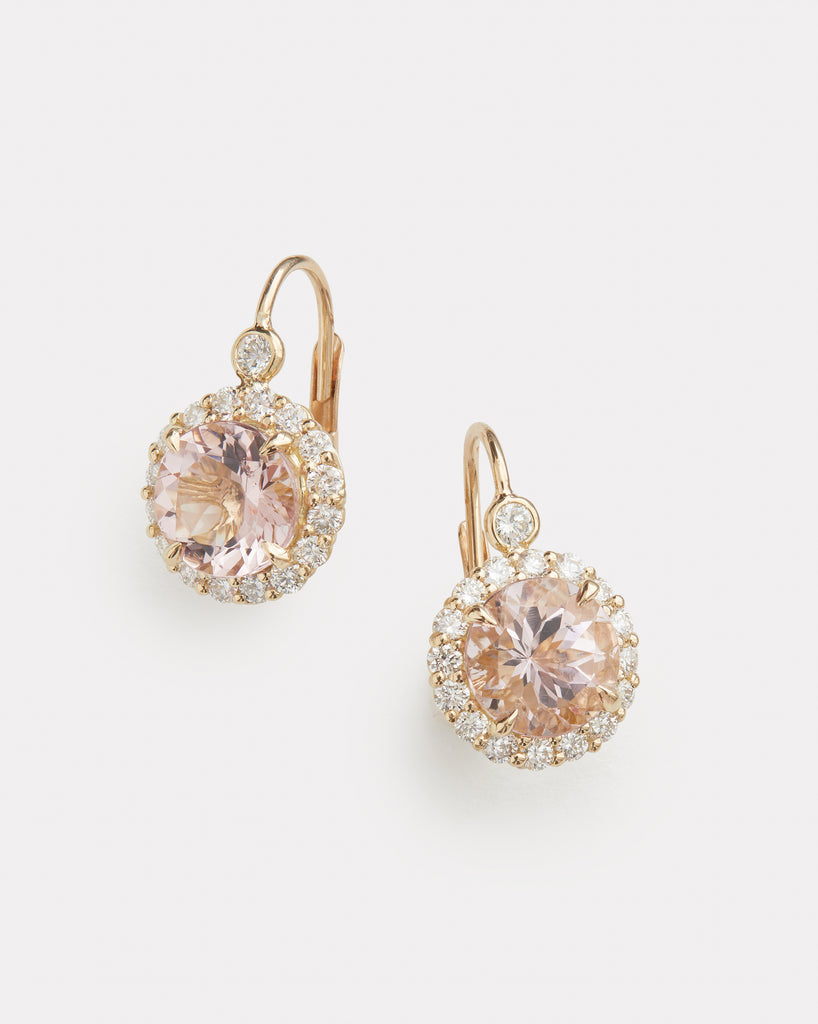 Diamond Edge Morganite Earring