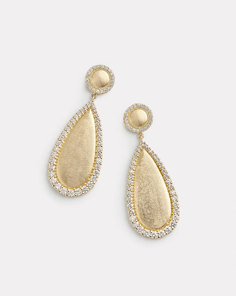 Gold and Diamond Pear Shape Earring