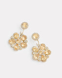 Sunflower Earring with Imperial Topaz and Diamonds