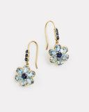 Floral Drop with Aquamarine and Blue Sapphire