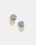 Opal and Diamond Cluster Stud