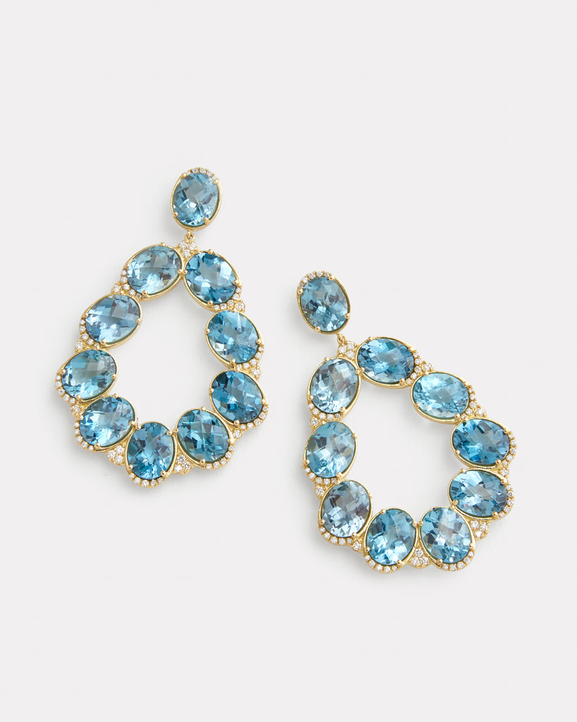 London Blue Topaz and Diamond Edged Pear Shaped Earrings