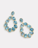 London Blue Topaz and Diamond Edged Pear Shaped Earring