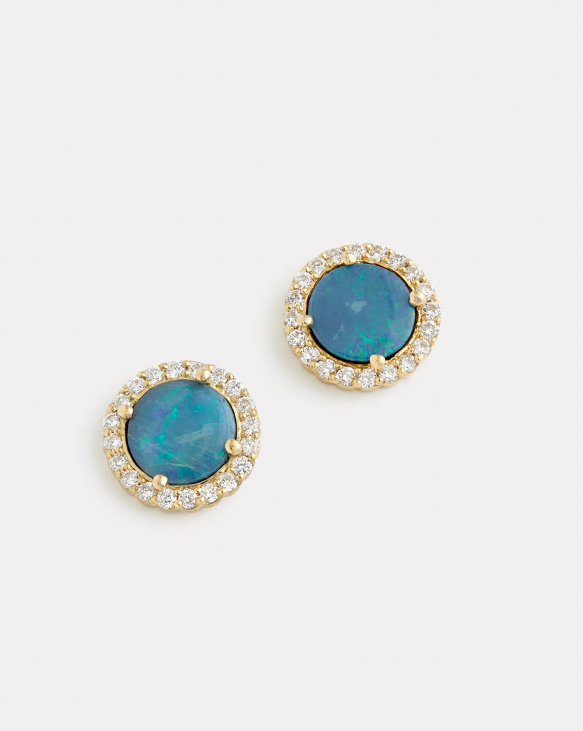 Diamond Edge Opal Studs