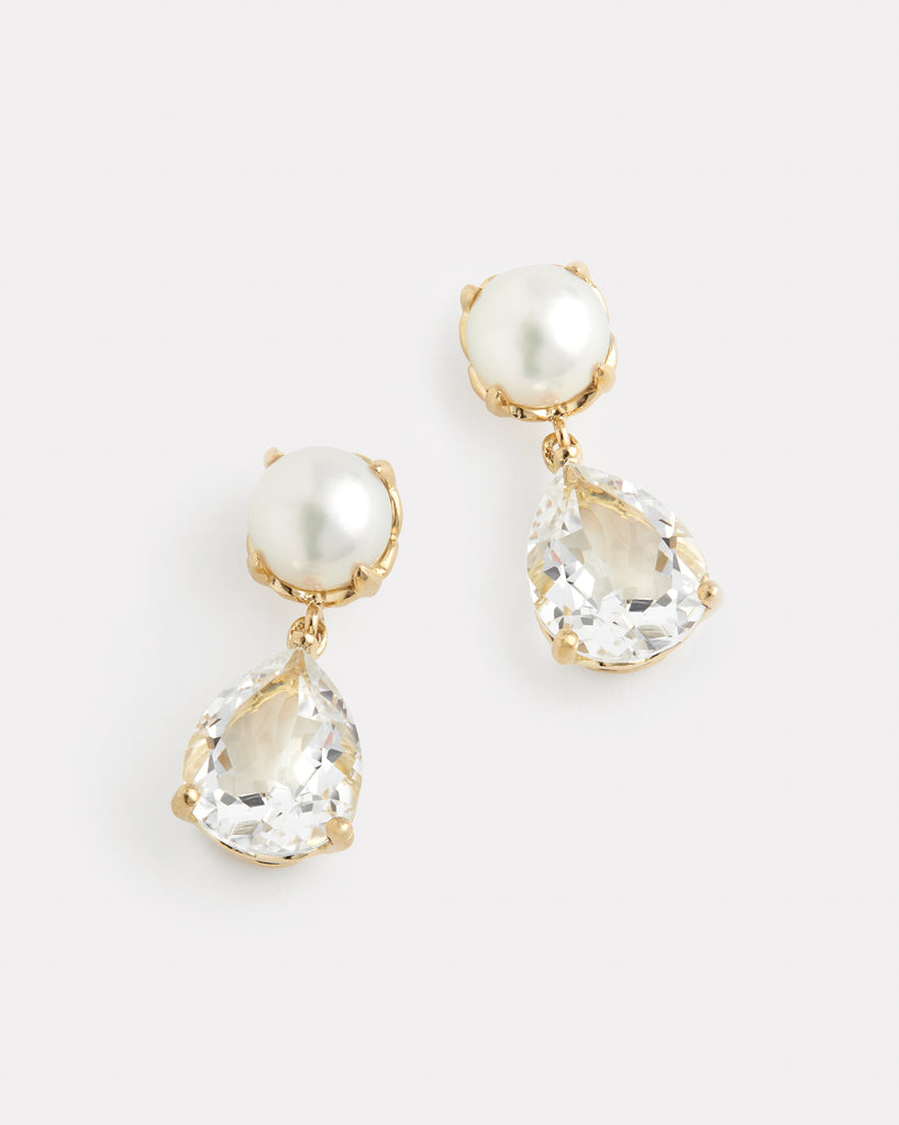 Pearl and White Topaz Drop Earrings