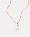 Diamond Cluster Necklace with White Freshwater Pearls