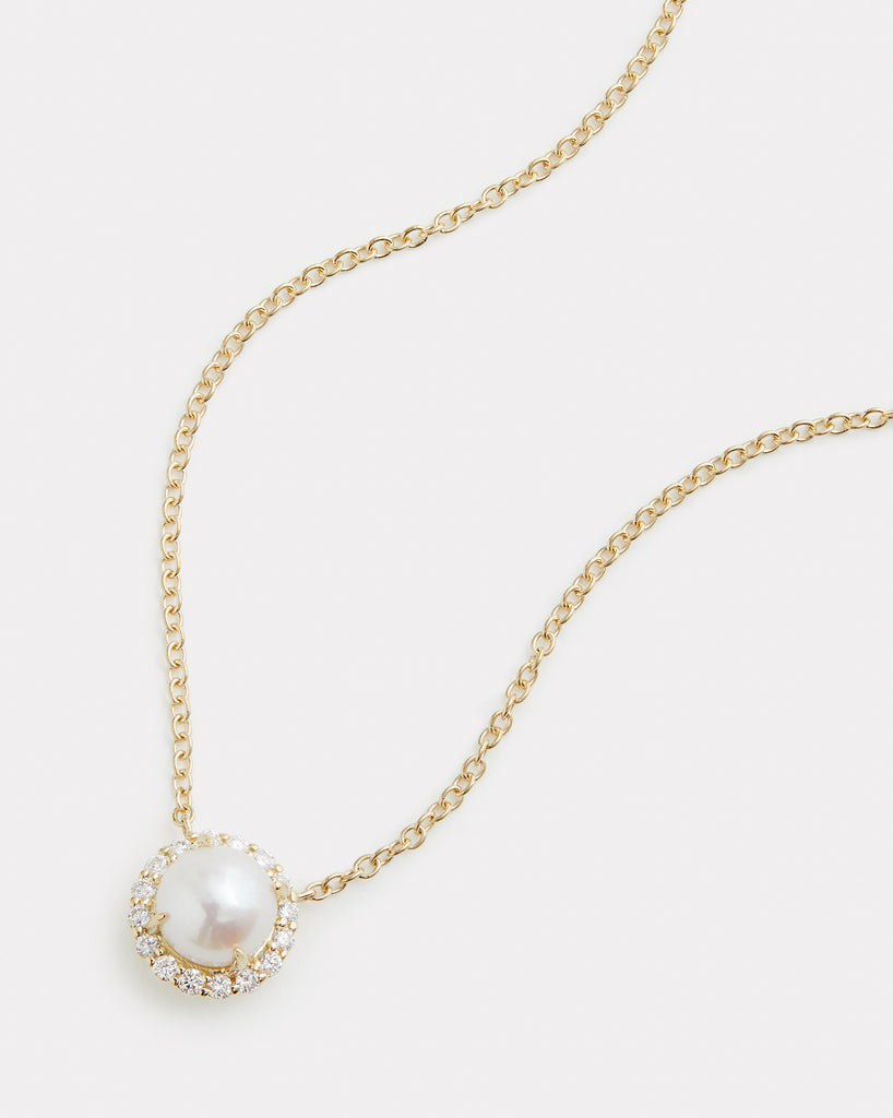 Diamond Edged Freshwater Pearl Necklace