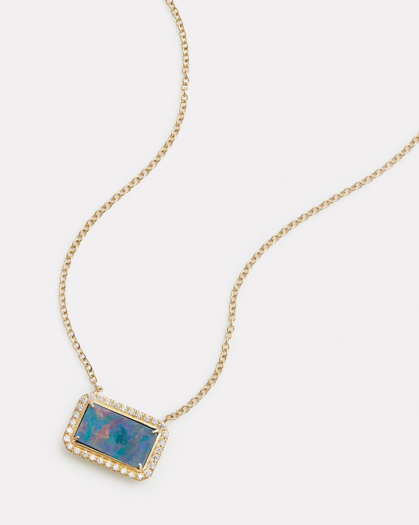Diamond Edged Opal Rectangle Necklace