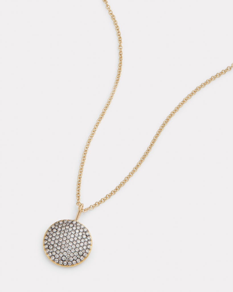 Blackened Diamond Disc Necklace