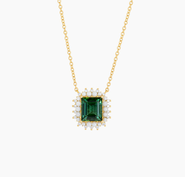 Tourmaline, Pearl and Diamond Necklace