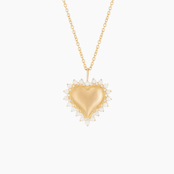 Pearl and Diamond Heart Necklace