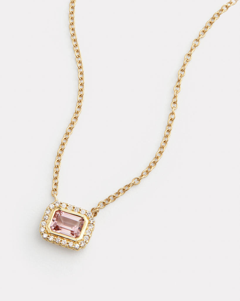 Diamond Edged Emerald Cut Pink Tourmaline Necklace
