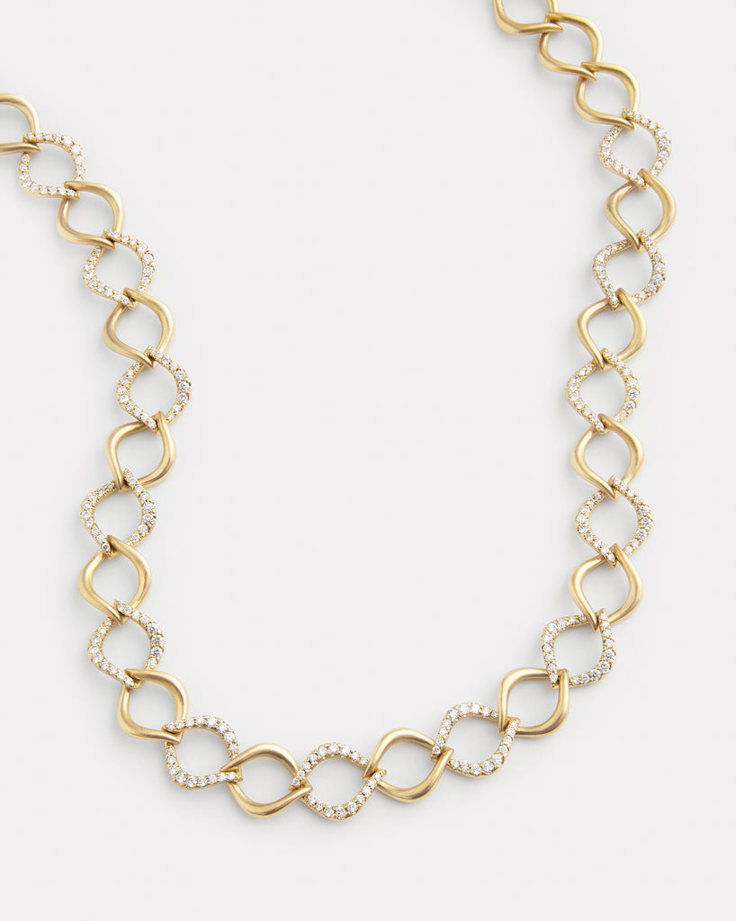 Aladdin Alternating Diamond and Gold Link Necklace