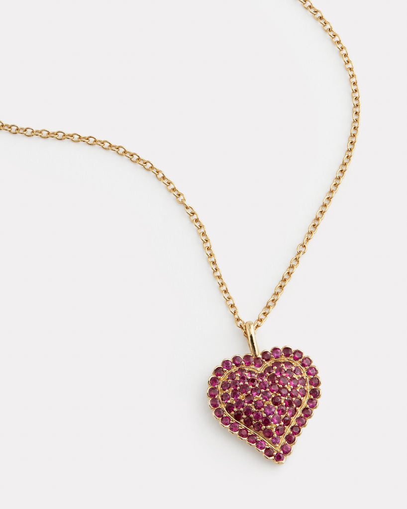 Heart Necklace with Rubies