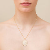 Scallop Pavé Oval Necklace