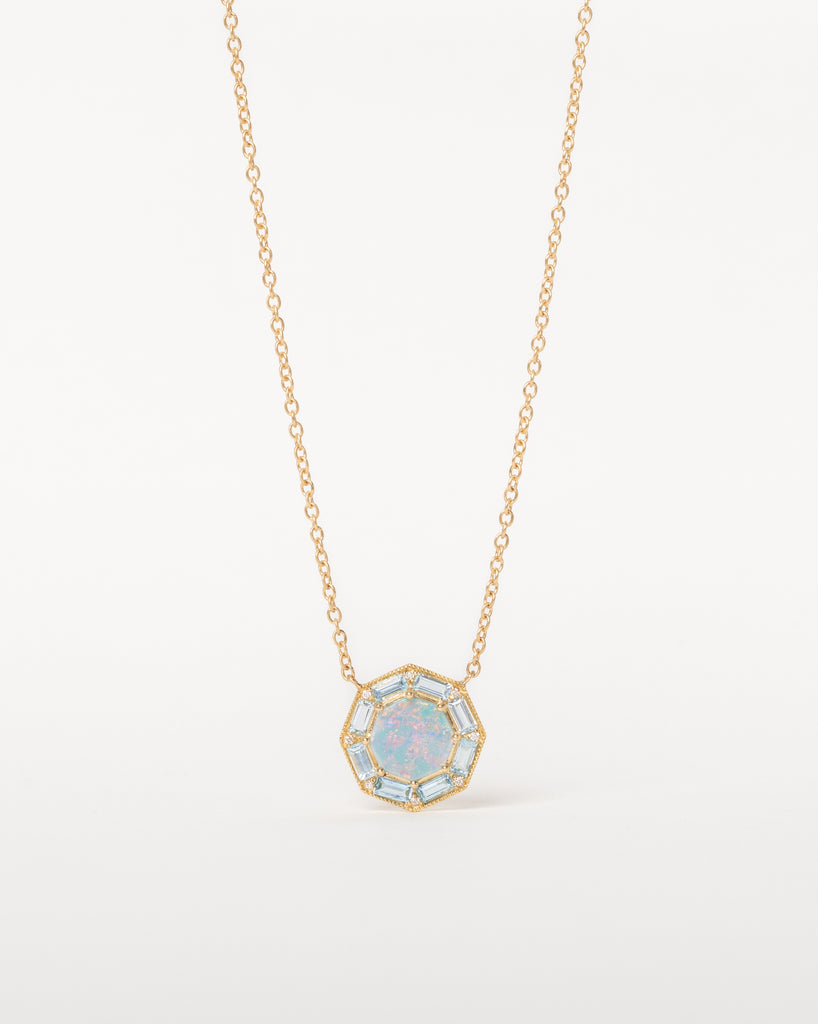 Octagon Necklace with Opal, Aquamarine and Diamonds