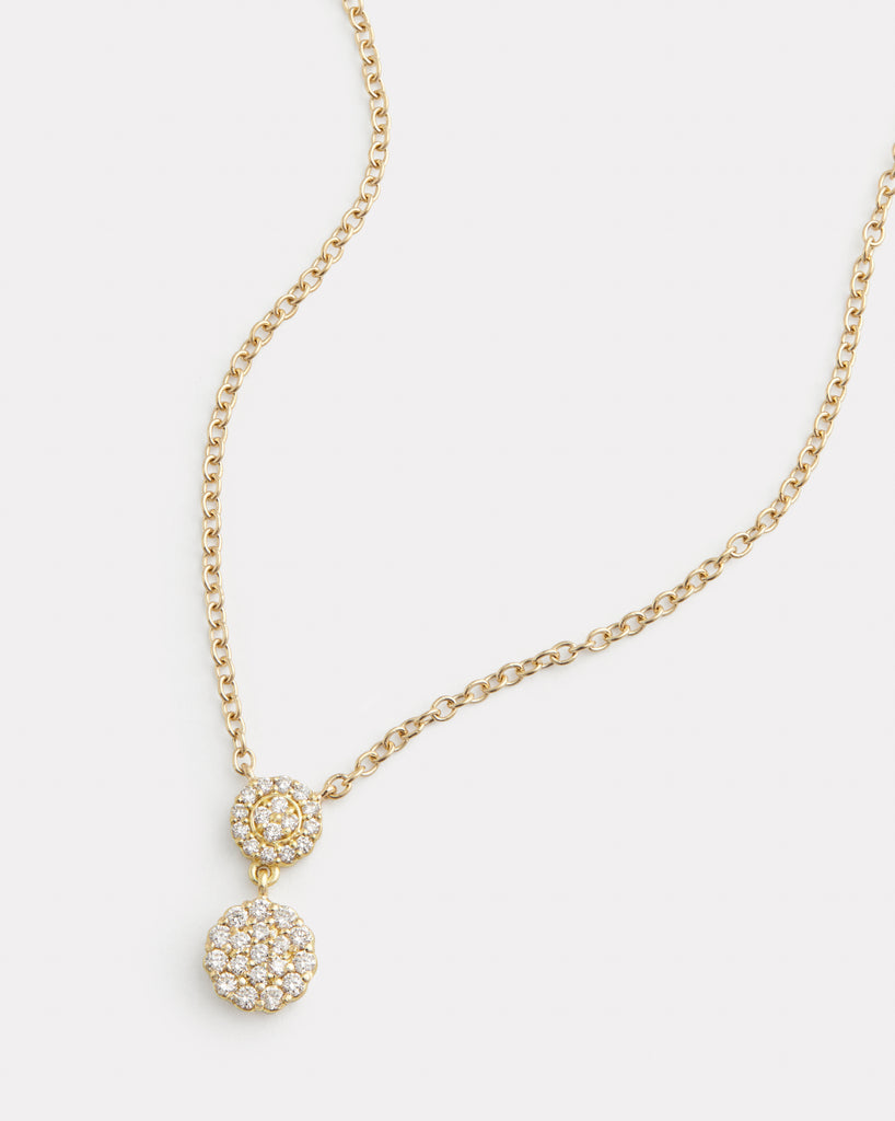 Double Drop Diamond Disc Pendant Necklace