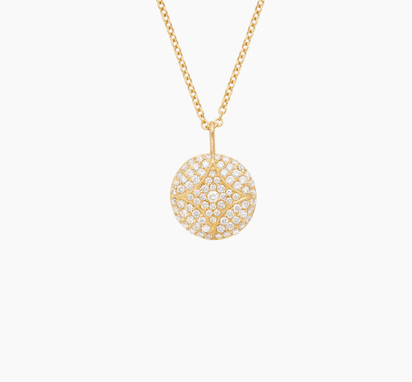 Large Pavé Aladdin Disc Necklace