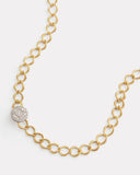 Petite Aladdin Link Necklace with Diamond Disc Closure