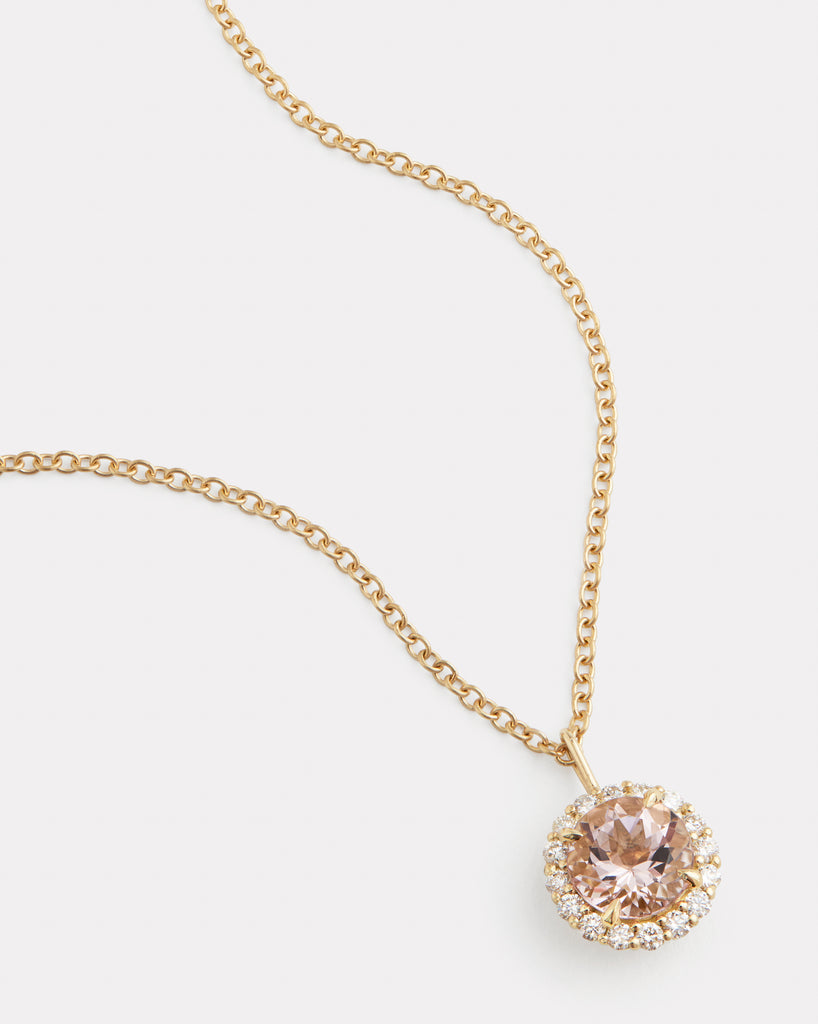 Diamond Edged Morganite Necklace