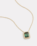 Diamond Edge Green Tourmaline Necklace