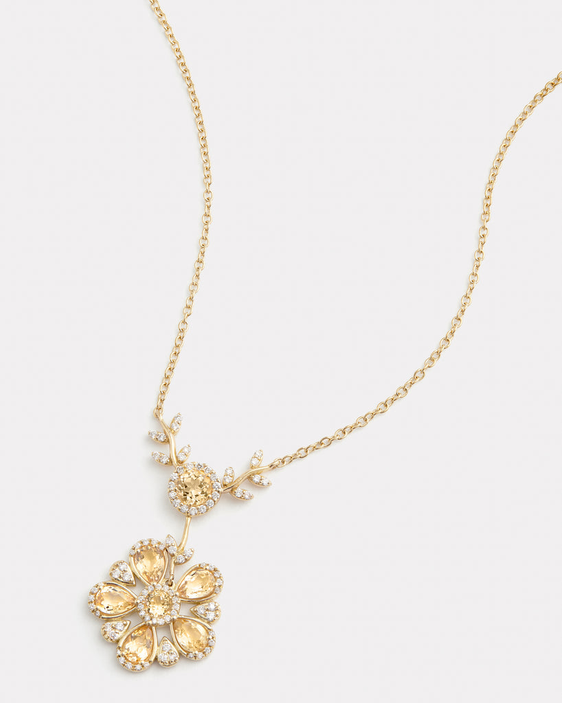 Sunflower Necklace with Imperial Topaz and Diamonds