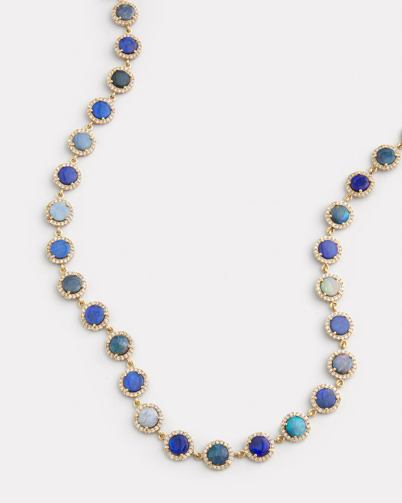 Opal and Diamond Edge Necklace