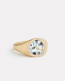 Bisou Ring with Aquamarine and Diamonds