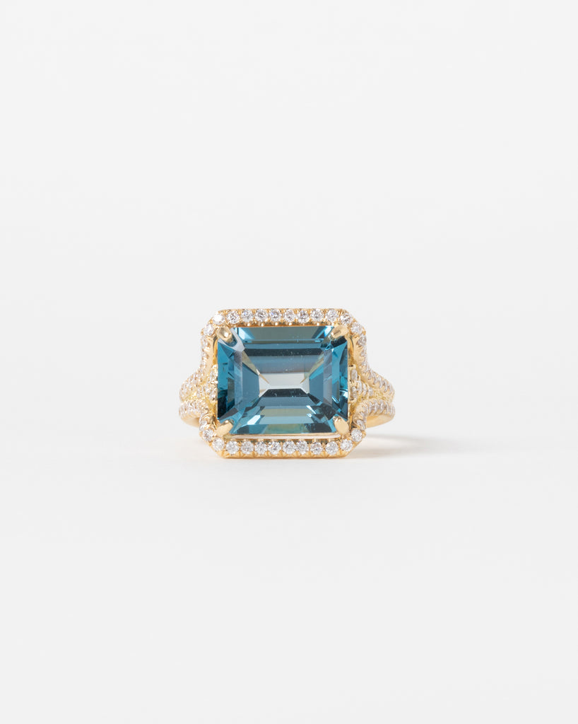 Diamond Embellished London Blue Topaz Ring
