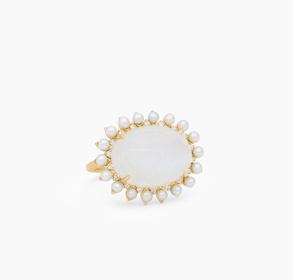 Rainbow Moonstone, Pearl and Diamond Ring