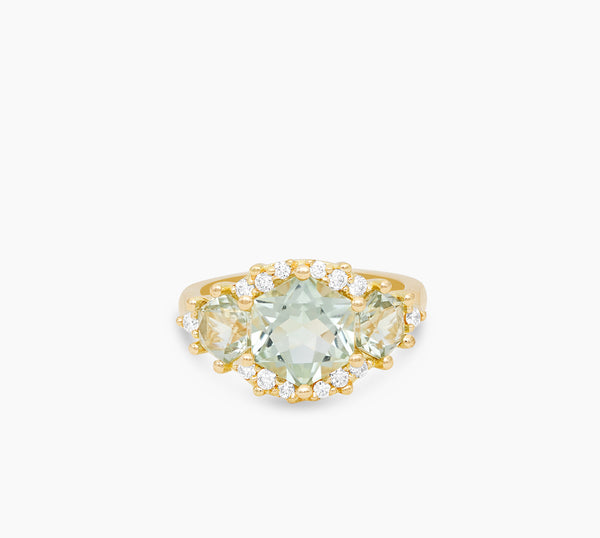 Green Amethyst Hexagon Ring