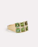 Mosaic Green Tourmaline and Diamond Ring