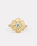 Flower Ring with Aquamarine