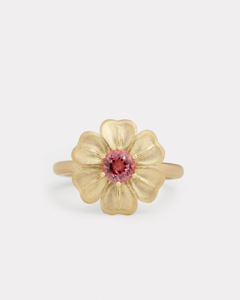 Flower Ring with Pink Tourmaline