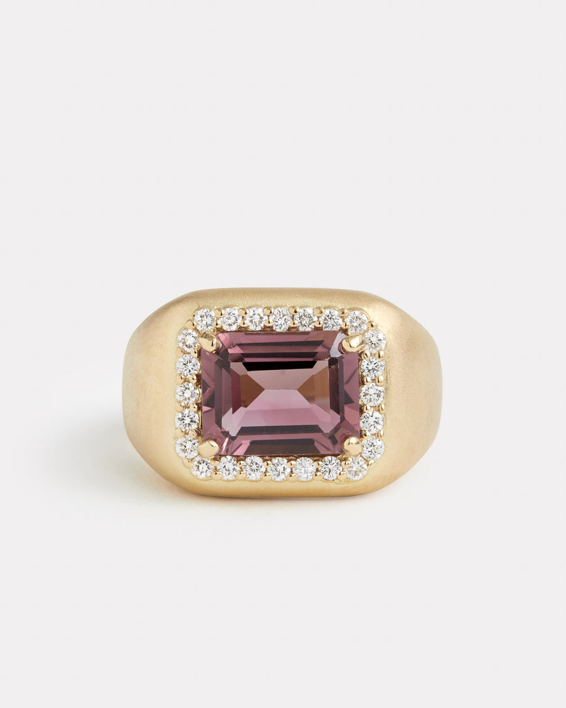 Pink Tourmaline Ring with Diamonds