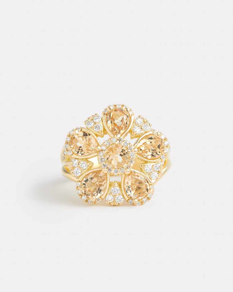 Sunflower Ring with Imperial Topaz and Diamonds