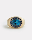 Sapphire Edged London Blue Topaz Ring