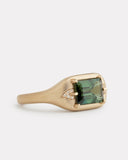 Green Tourmaline Ring with Diamond Leaf Detail