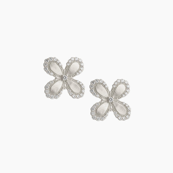 Scallop Pave Edge Flower Stud
