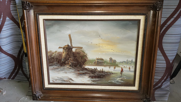 Original Windmill Oil Painting - Macomb County ReStores