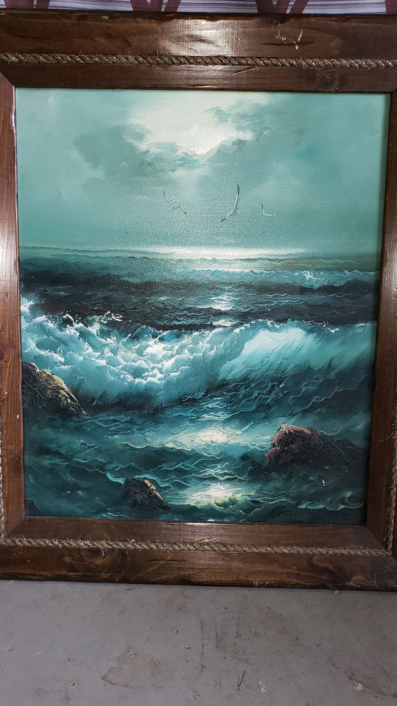 Original Oil Painting Seascape - Macomb County ReStores