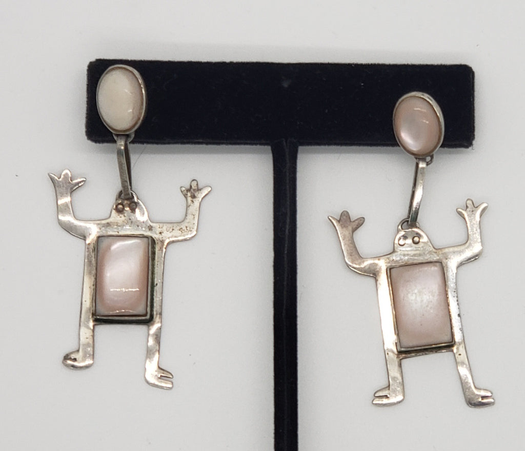 Sterling Silver Dangling Frog Earrings - Macomb County ReStores