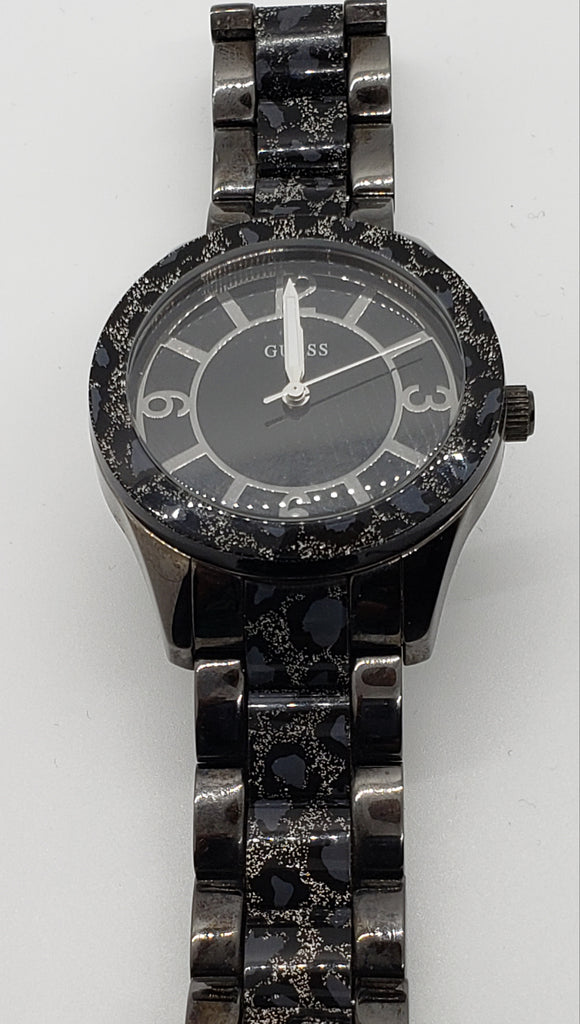 Guess Black Ion Plated Steel Animal Print Quartz Watch - Macomb County ReStores