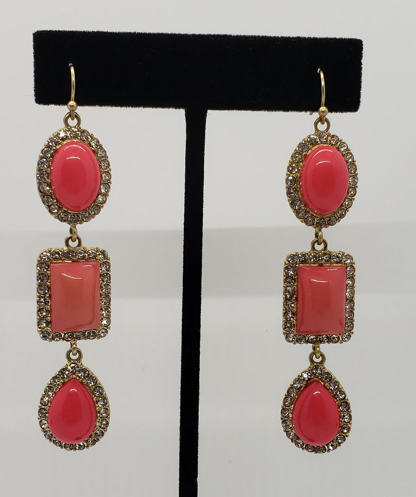 Coral and Gold Tone Drop Earrings - Macomb County ReStores
