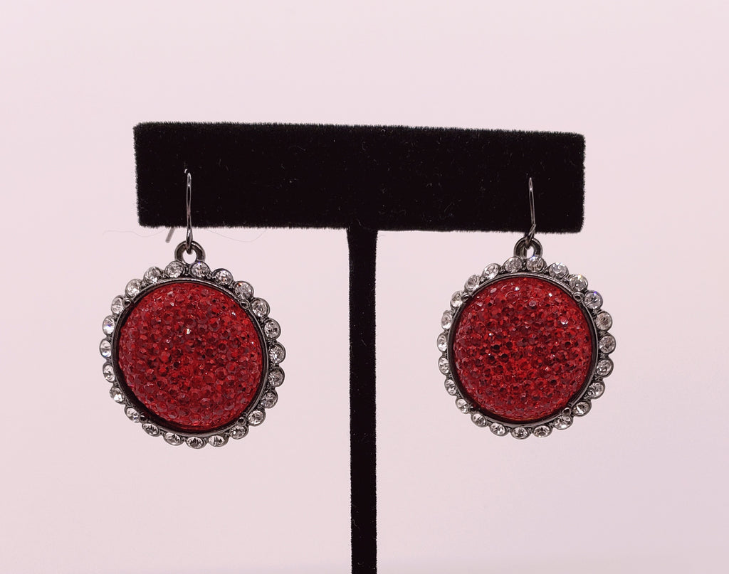 Vibrant Red Sparkly Earrings - Macomb County ReStores
