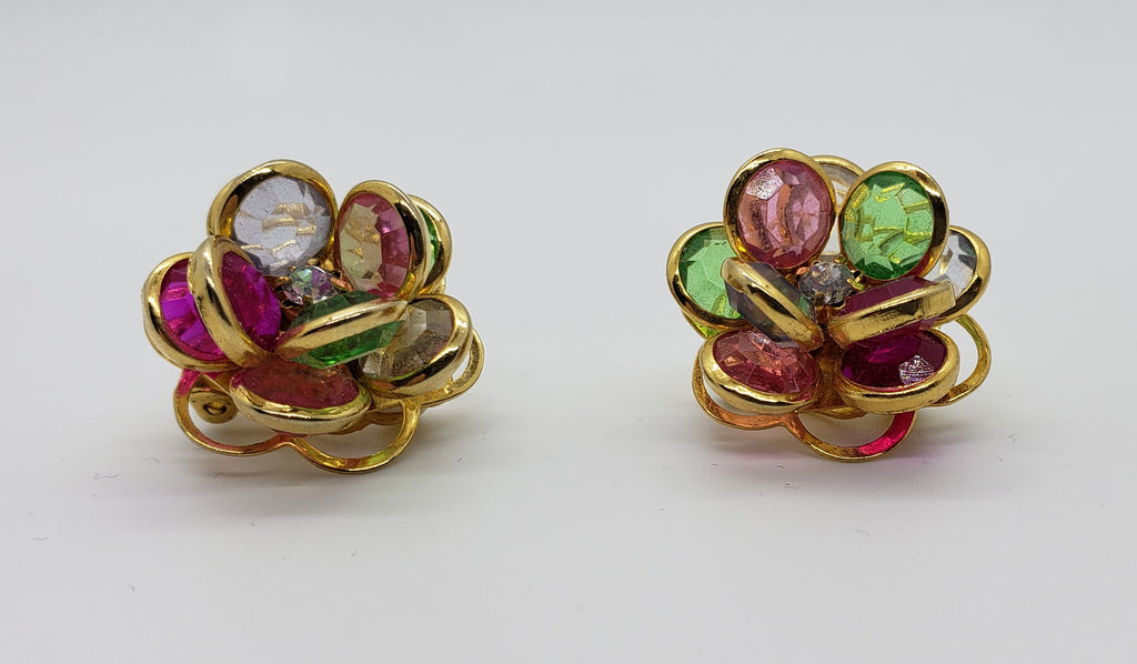 Colorful Flower Clip On Earrings - Macomb County ReStores