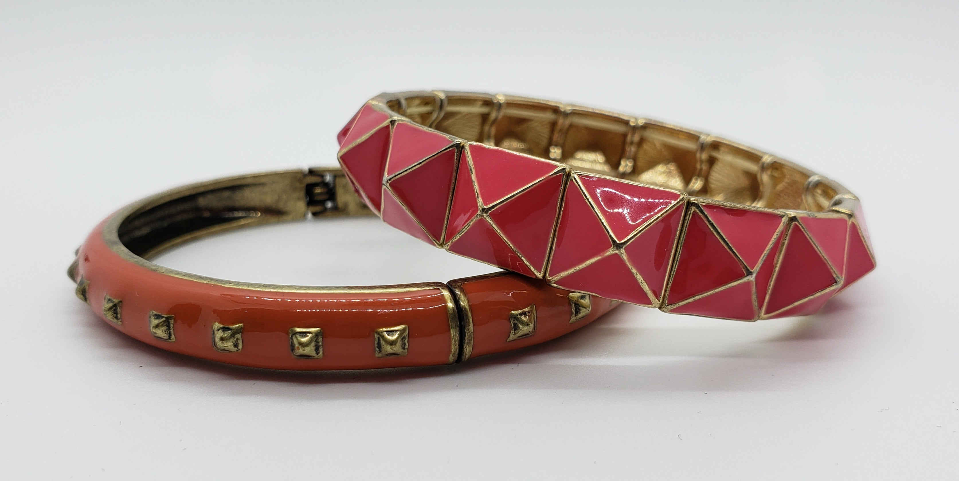 Pair of Coral and Hot Pink Enameled Bracelets
