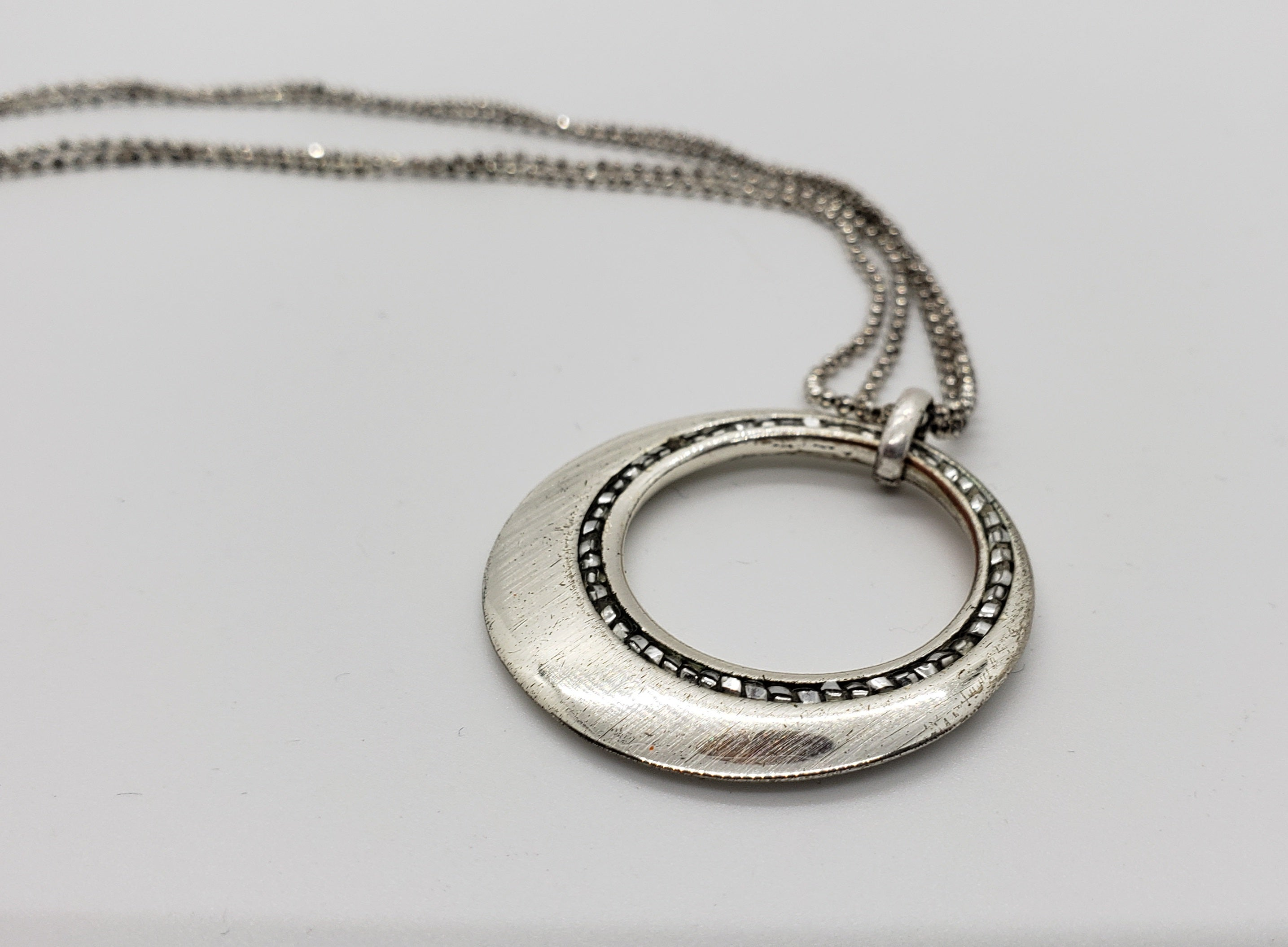 Marcasite Circle Necklace with Faceted Chain