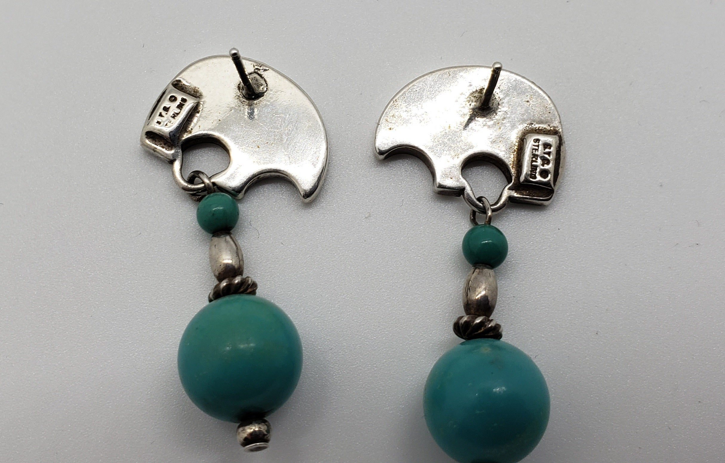Stylized Sterling Silver Bear Earrings with Turquoise Drops - Macomb County ReStores