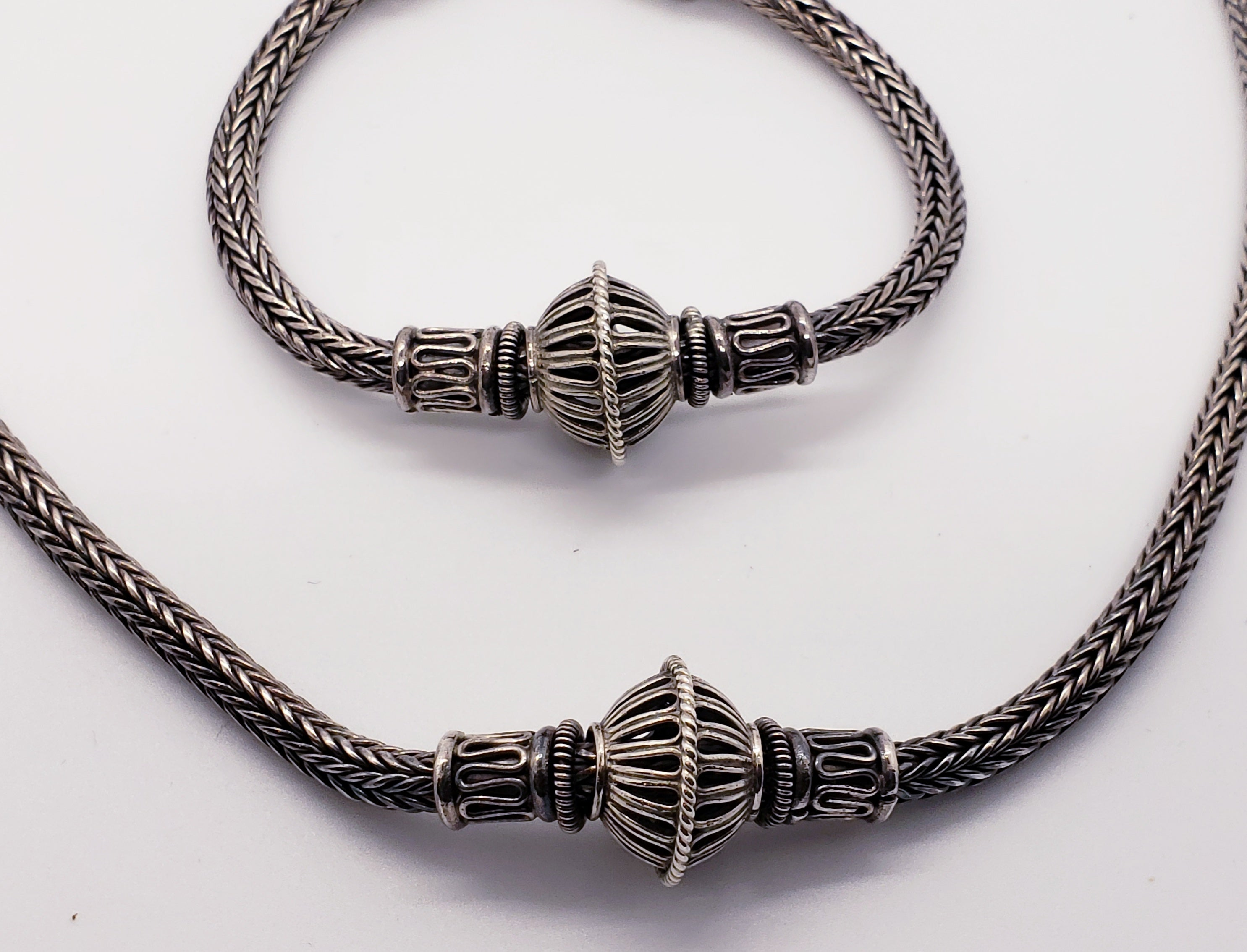Sterling Silver Necklace and Bracelet Set from Thailand